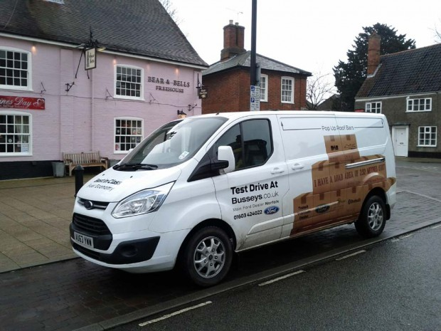 The Ford Transit Custom in Beccles | Loading the Transit Custom 155ps in Beccles town centre during our February 2014 Transit review
