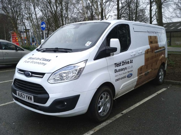 The Ford Transit Custom in Thetford | Loading the Transit Custom 155ps Limited in Therford during our February 2014 Transit review